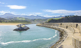 Zumaia in Euskadi,Spain. View of Zumaia breakwater on a sunny day in Guip�zcoa,spain Royalty Free Stock Photography