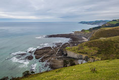 Zumaia flysch coast with cloud Royalty Free Stock Images