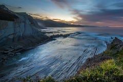 Zumaia flysch coast at night Royalty Free Stock Image