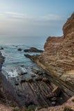 Zumaia flysch coast at sunset Royalty Free Stock Photography