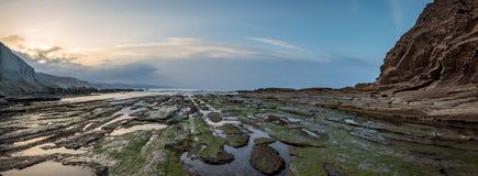 Zumaia flysch coast at sunset Royalty Free Stock Photo