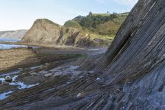 Zumaia flysch. Zumaia geology special coast, the Flysch, in Spain royalty free stock photo