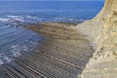 Zumaia flysch. Zumaia geology special coast, the Flysch, in Spain stock photography
