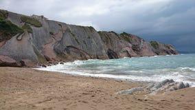 Zumaia plaża, Spain Zdjęcia Royalty Free