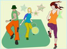 Zumba. Three Zumba Dancers on Colourful background Royalty Free Stock Photos