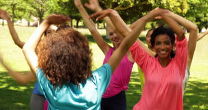 Zumba class dancing in the park stock footage
