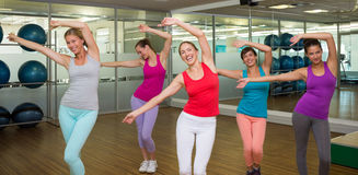 Zumba class dancing in studio Royalty Free Stock Photos