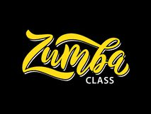 Zumba class fitness text. Calligraphy word banner design. Aerobic fitness. Vector Illustration royalty free illustration