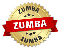 Zumba 3d gold badge. With red ribbon Stock Images