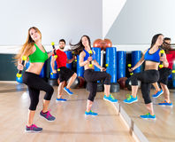 Zumba dance cardio people group at fitness gym royalty free stock photos