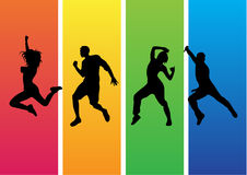 Zumba dance silhouette vector. Energetic silhouettes of men and woman dancing Zumba Royalty Free Stock Photo