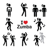 Zumba dance, workout fitness icons set Royalty Free Stock Image