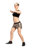 Zumba fitness dancer. Blonde hair fashion model on white background. PNG available stock images