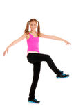 Zumba fitness with teen girl. Wearing a pink top Royalty Free Stock Photos