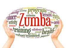 Zumba Fitness word cloud hand sphere concept royalty free stock images