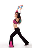 Zumba instructor in stretch pose Royalty Free Stock Photos