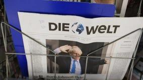 Zumba para fora de Boris Johnson na primeira página de Die Welt alemão vídeos de arquivo