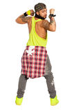 Zumba salsa dancer man. On white, PNG available royalty free stock photos