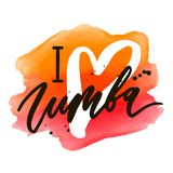 Zumba Vector lettering watercolor word text color pop art dance royalty free illustration
