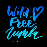 Zumba Vector lettering watercolor word text color art dance royalty free illustration