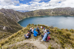 ZUMBAHUA, ECUADOR - APRIL 15: Group of hikers walking Royalty Free Stock Photography