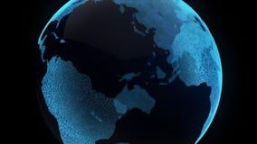 Zumbido digital da superfície da partícula do globo da terra do movimento ilustração stock