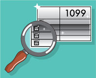 Zumbido do formulário de imposto 1099 com o brilho da prata do vetor da lupa Imagens de Stock Royalty Free