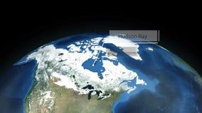 Zumbir através do espaço a um lugar na animação de America do Norte - Hudson Bay - cortesia de imagem da NASA ilustração do vetor