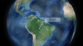 Zumbir através do espaço a um país no globo na animação de Ámérica do Sul - cortesia de imagem de Brasil da NASA filme
