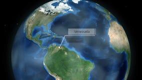 Zumbir através do espaço a um país no globo na animação de Ámérica do Sul - Venezuela - cortesia de imagem da NASA video estoque