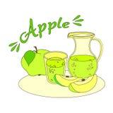 Zumo de manzana con el vidrio y la garrafa Fotos de archivo