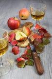 Zumo de manzana, manzanas y hojas de otoño Fotos de archivo libres de regalías
