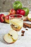 Zumo de manzana orgánico fresco del otoño con las especias Imagen de archivo
