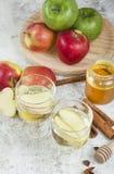 Zumo de manzana orgánico fresco del otoño con las especias Fotografía de archivo