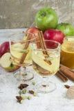Zumo de manzana orgánico fresco del otoño con las especias y la miel Imagen de archivo