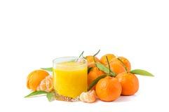 Zumo de naranja aislado y clementinas Imagenes de archivo
