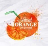 Zumo de naranja de la acuarela del cartel Fotos de archivo