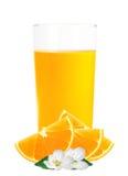 Zumo de naranja en las rebanadas de cristal y anaranjadas aisladas en blanco Imagen de archivo libre de regalías
