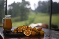 Zumo de naranja Selfmade y naranjas cortadas foto de archivo