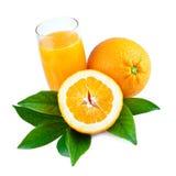 Zumo de naranja sobre blanco Foto de archivo libre de regalías