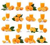 Zumo de naranja y naranja aislados en el fondo blanco Fotos de archivo libres de regalías