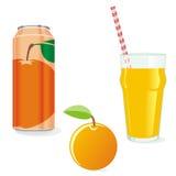 Zumo y fruta aislados de naranja Fotos de archivo libres de regalías