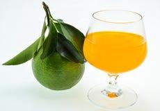 Zumo y fruta de naranja aislados Imagen de archivo libre de regalías