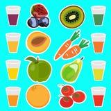 Zumos de fruta fresca deliciosos útiles Imágenes de archivo libres de regalías