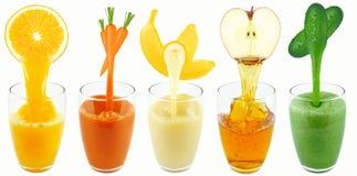 Zumos de la verdura y de fruta Fotos de archivo