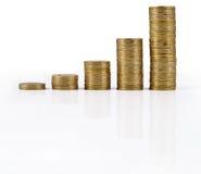 In zunehmendem Maße höher Stapel Goldmünzen auf einem Weiß Stockfotografie
