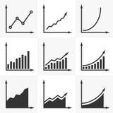 Zunehmendes Diagramm Satz des Vektors stellt mit einer steigenden Tendenz grafisch dar S Stockfotos