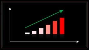 Zunehmendes Diagrammgeschäftskonzept, wachsendes Geschäfts-Diagramm/Diagramm mit kletterndem Pfeil, Bewegungsgraphikvideoclip lizenzfreie abbildung