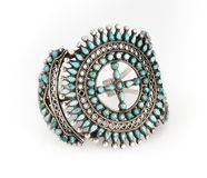 Zuni Turquoise Cluster Bracelet. Stock Photography