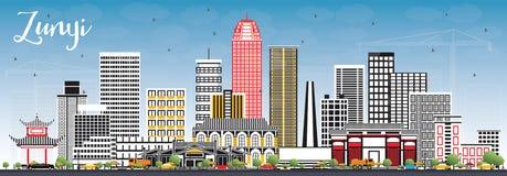 Zunyi miasta Porcelanowa linia horyzontu z Szarymi budynkami i niebieskim niebem Obrazy Stock